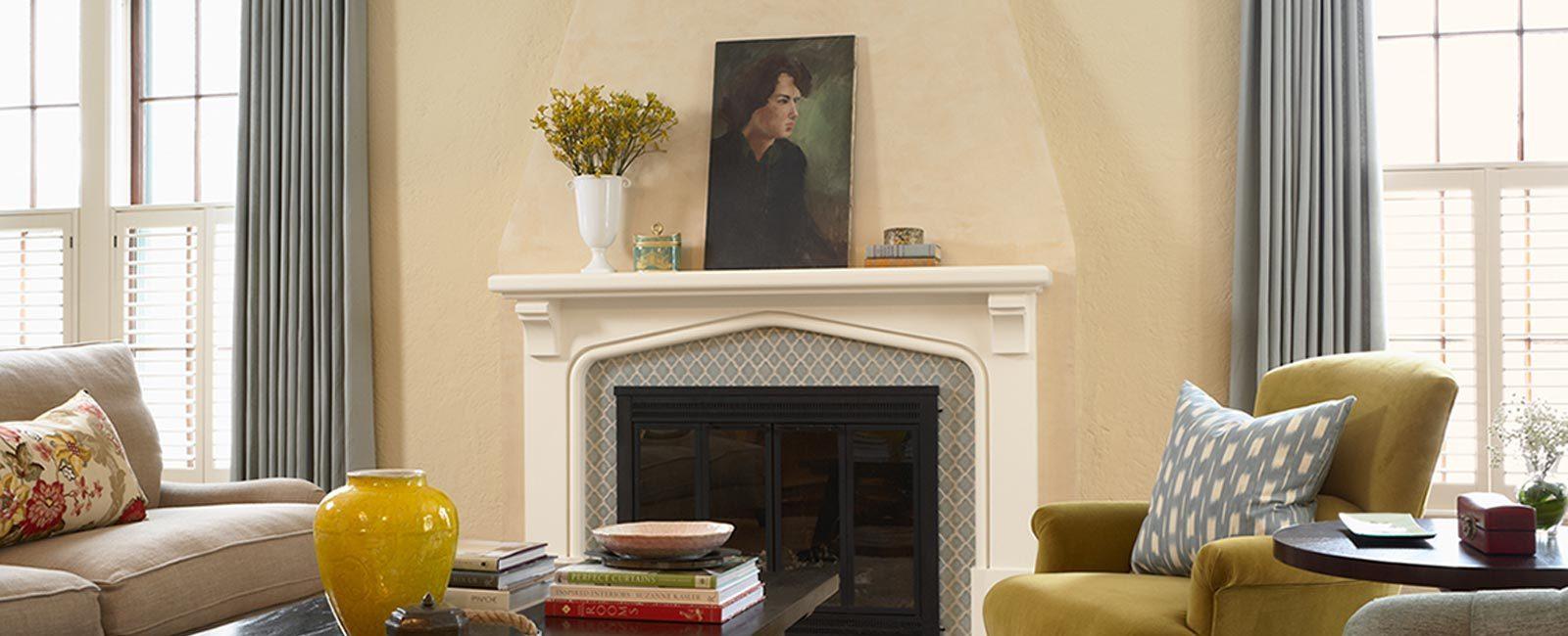 Interior Design  tiled fireplace